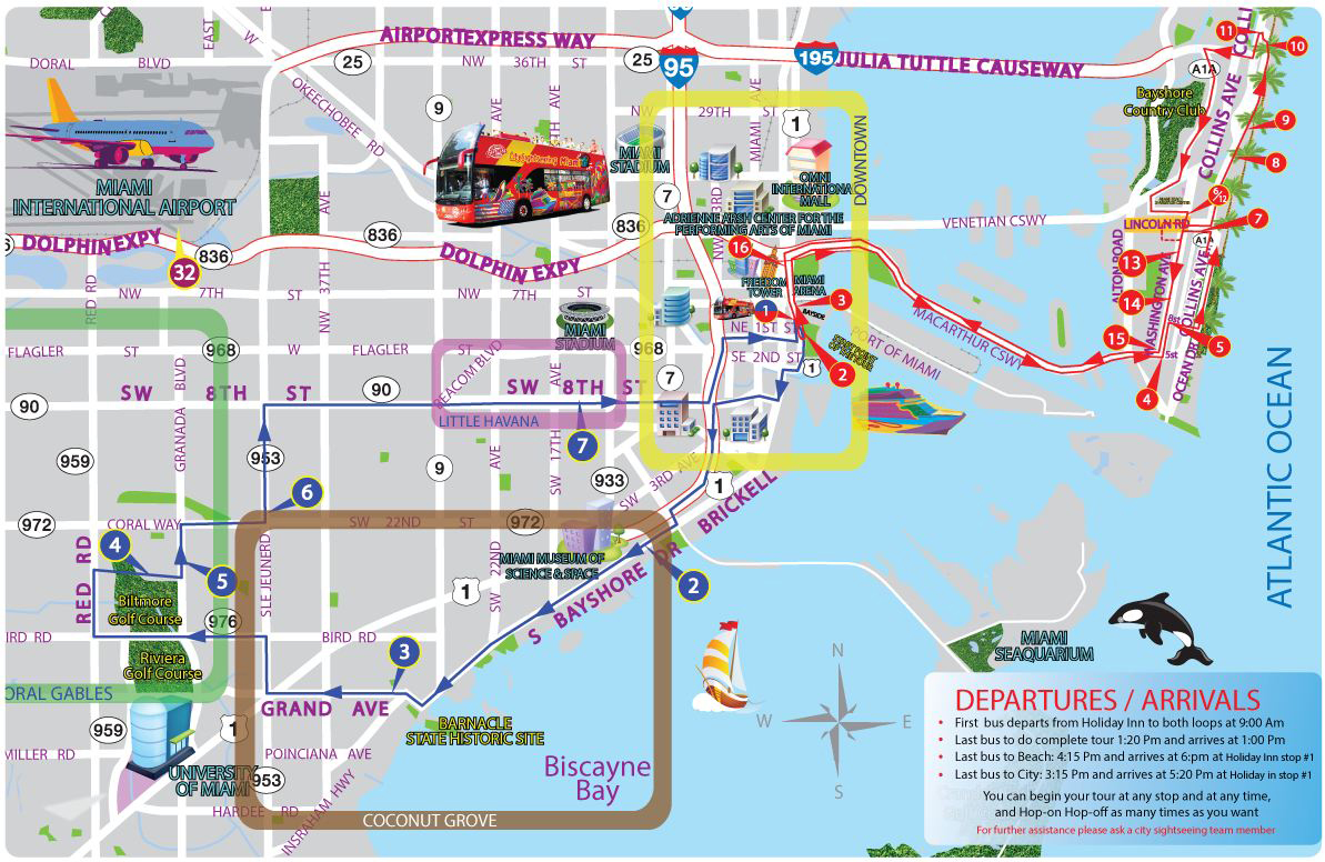 hop on hop off miami map City Sightseeing Miami Hop On Hop Off Overview hop on hop off miami map
