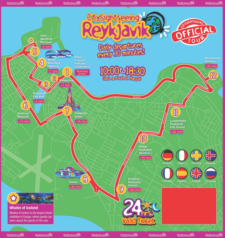 City Sightseeing Reykjavik Bus Tour AttractionTix - Reykjavík map